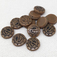 12 Vintage Handmade Brown Tribal Coin Glass Beads