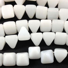 25 Milky White Stud Czech Two Hole Glass Beads