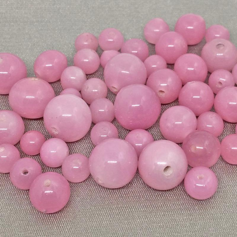 50 Vintage Mixed Pink Japan Round Glass Beads