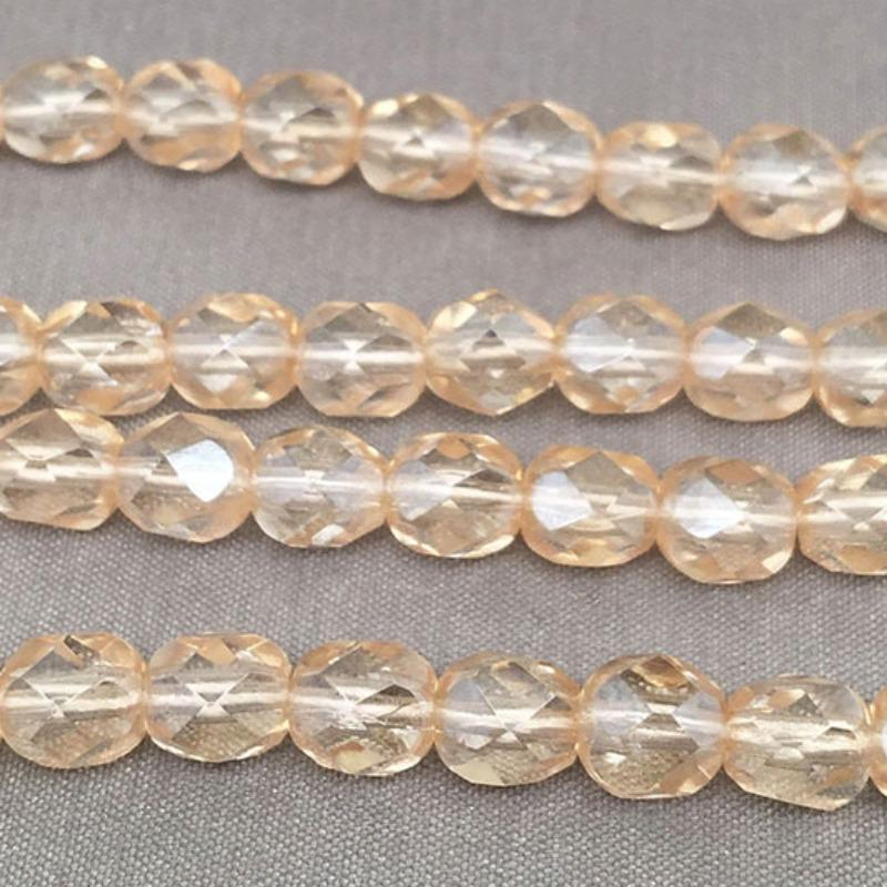 50 Champagne Yellow Czech Faceted Glass Beads