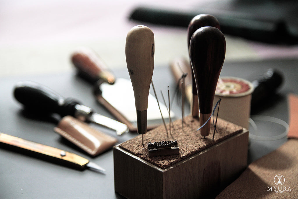 Leather tools at Myura workshop
