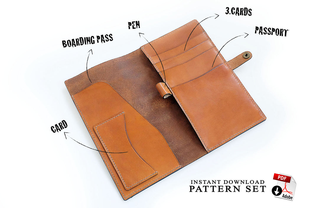 Download pdf patterns for travel wallet • leather craft templates