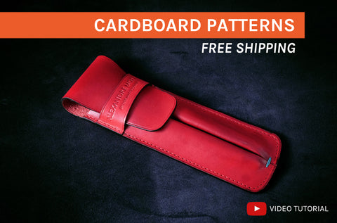 LEATHER PEN CASE - cardboard patterns + video tutorial