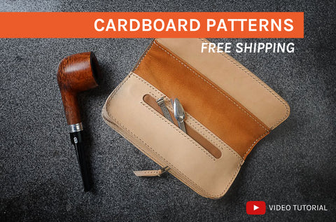 TOBACCO / PIPE POUCH - cardboard patterns + video tutorial