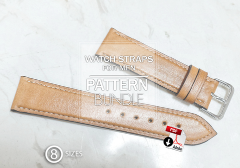 WATCH STAP 8 SIZES BUNDLE - PDF patterns + video tutorial