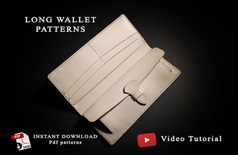 Download long wallet pdf patterns, holds cards, bank notes and coins   • leather craft