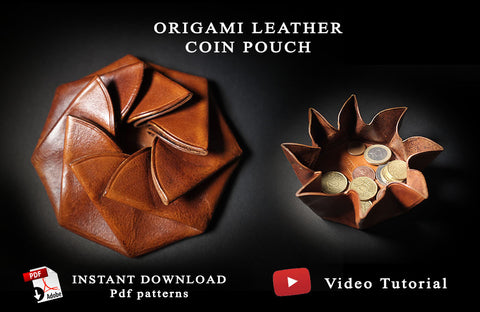 ORIGAMI COIN POUCH I - PDF patterns + video tutorial