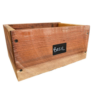 cedar planer box with chalk label