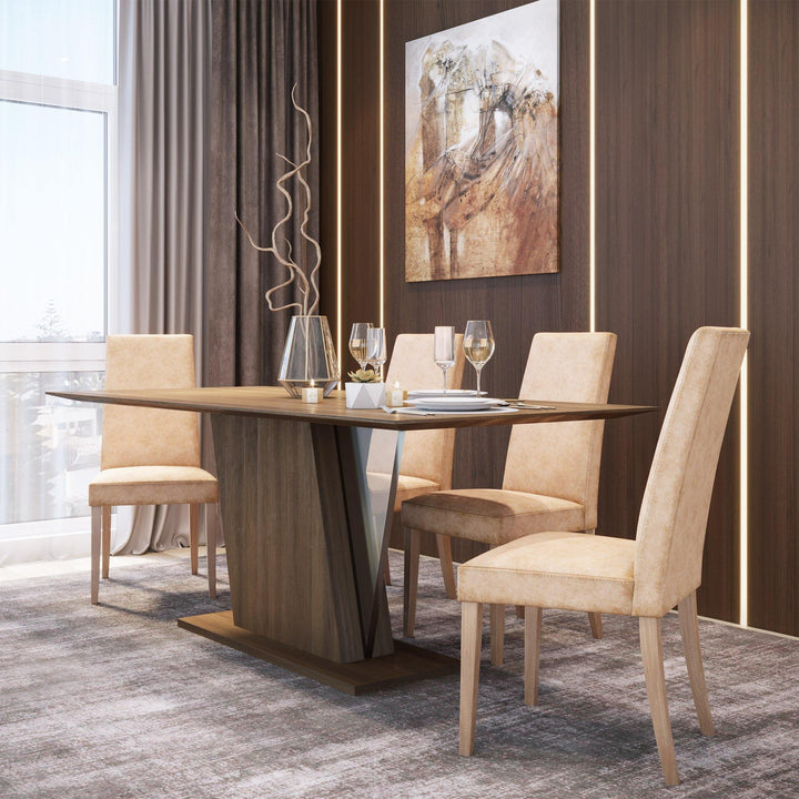 Fernanda Walnut Dining Table with Acrylic Accent
