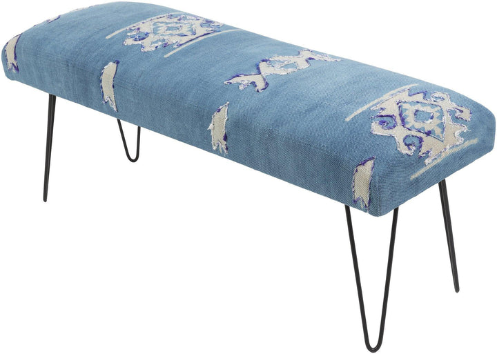 accent bench dining room cushion blue
