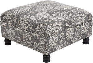 cotton cloth upholstered wood ottoman