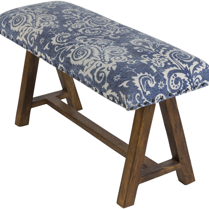 cotton cloth upholstered wood bench