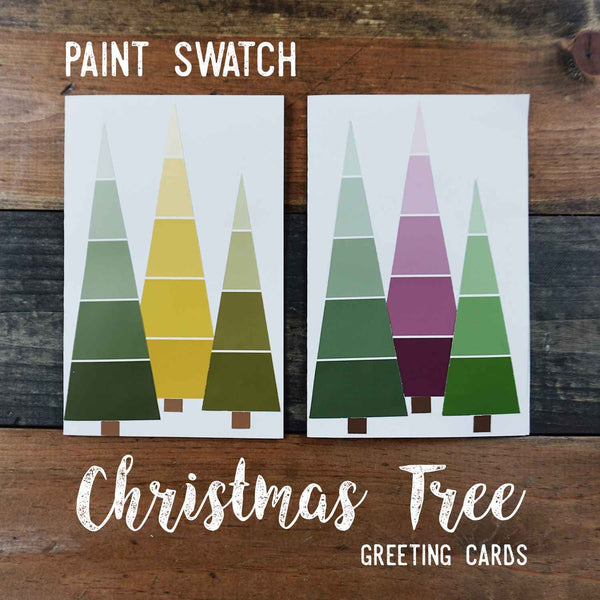 Social Crafts DIY Tutorials - Paint Swatch Christmas Tree Greeting Cards