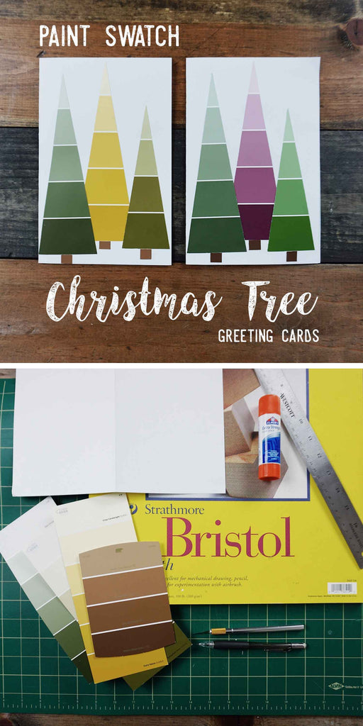 Social Crafts DIY Tutorial - Paint Swatch Christmas Tree Greeting Cards