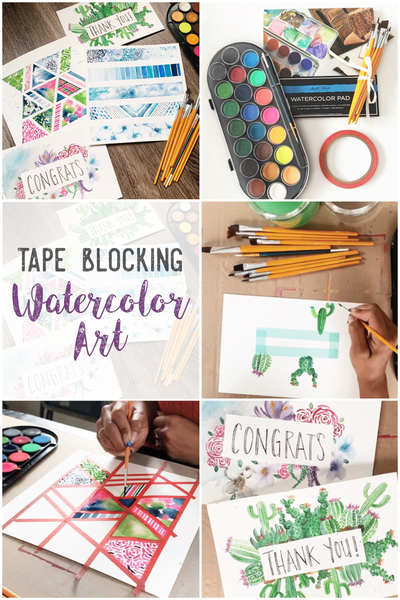 Tape Blocking Watercolor Art - Subscription Craft Box by Social Crafts