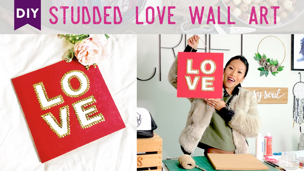 Valentine's Crafts: DIY Thumbtack Art Decor, LOVE edition. A craft party idea! Follow along with my step-by-step tutorial. This DIY thumbtack wall art is a great DIY craft for Valentine's Day or Galentine's Day! For a full list of supplies/shopping links and more DIY craft party inspiration visit www.socialcrafts.com