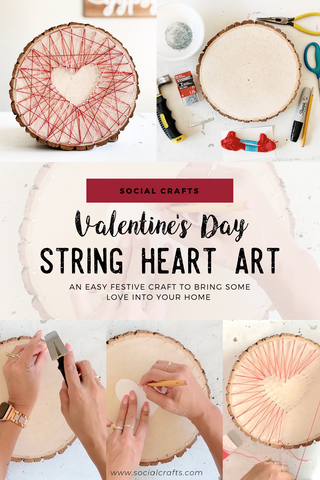 Valentine's Day, or Galentine's Day, decoration craft for the home - my Heart String Art craft! Easy DIY craft idea for any time of year, for any craft party. If you don't want to do a heart, these techniques can be applied to any string art design! For more DIY craft party inspiration visit www.socialcrafts.com