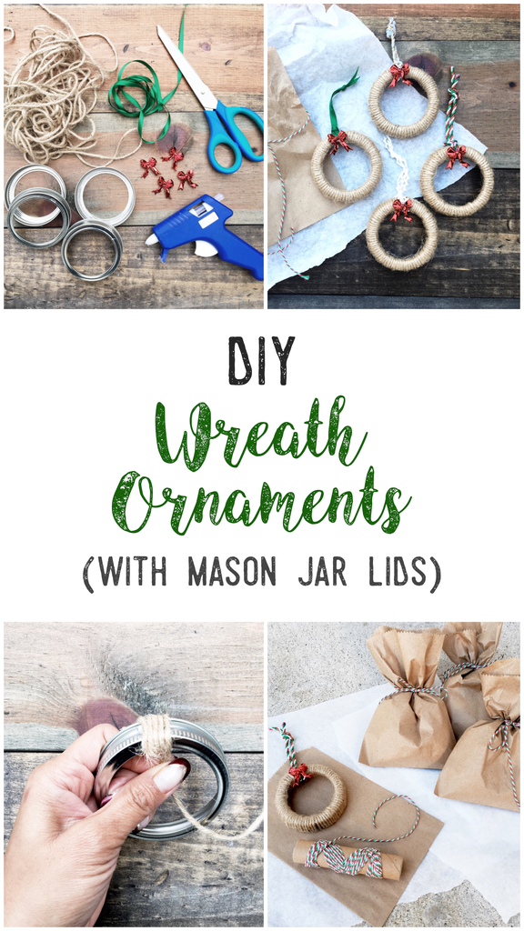 DIY Wreath Banner (with mason jar lids)