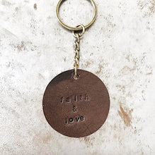 Personalized Leather Circle Keychain