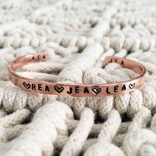 Personalized Hand-Stamped Copper Bracelet