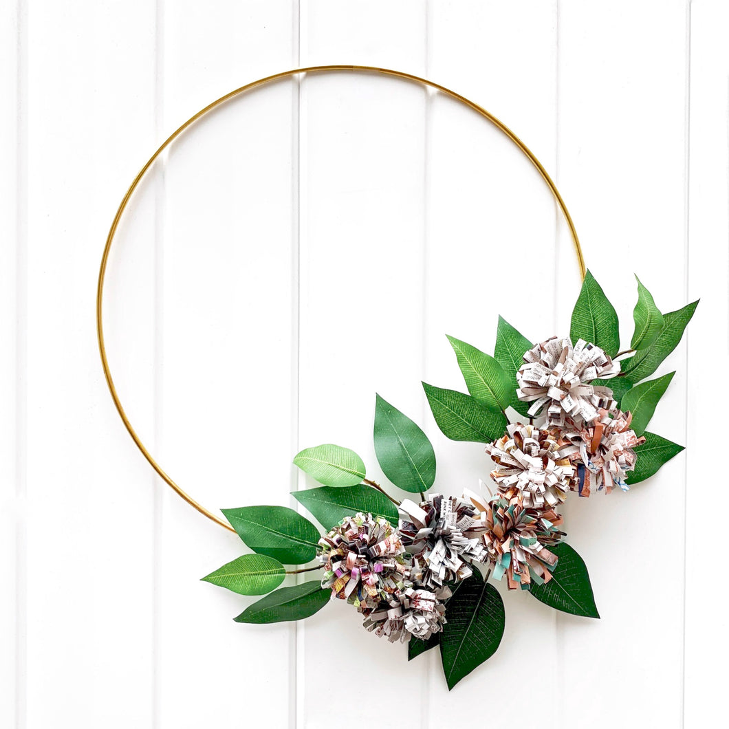 Magazine Flower Hoop Decor