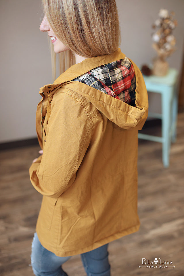 Plaid Accent Jacket - Mustard