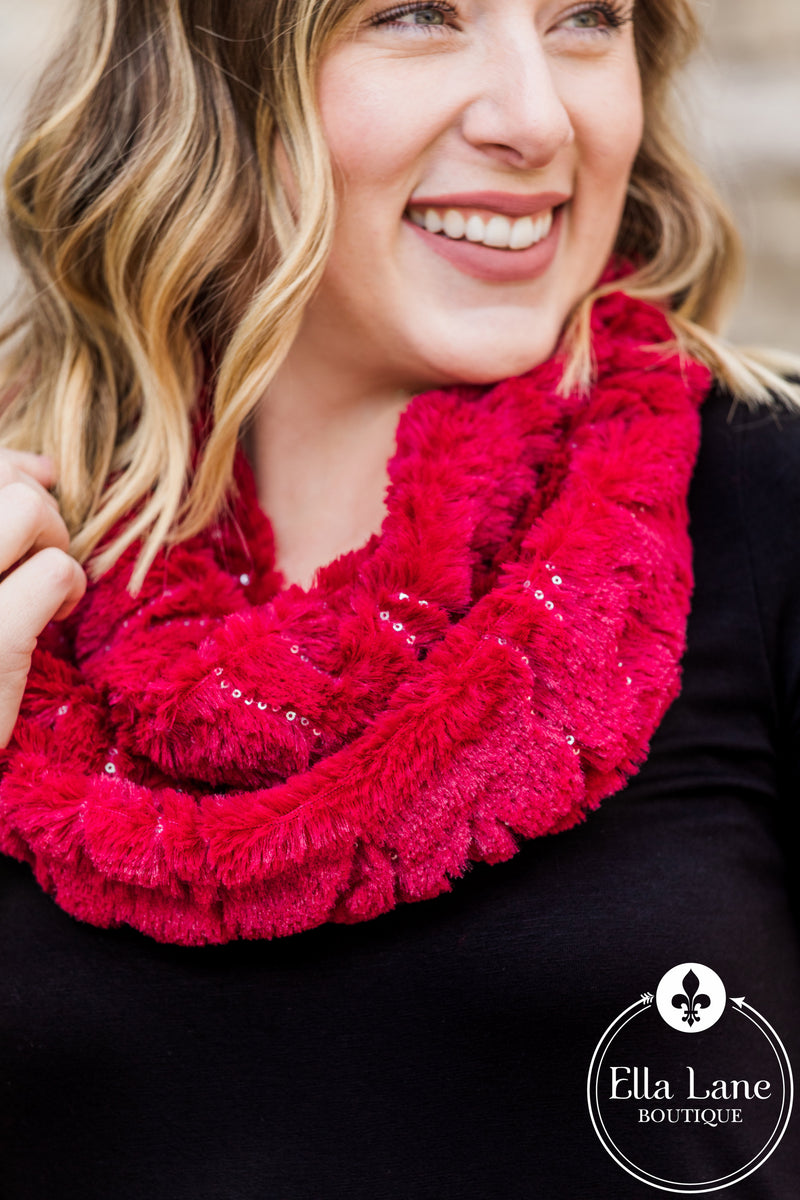 Soft & Sparkly Infinity Scarves - Red