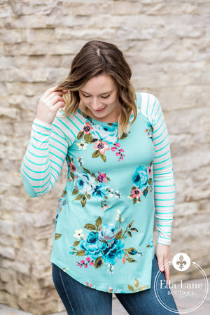 Emma Pattern Mix Top - Mint