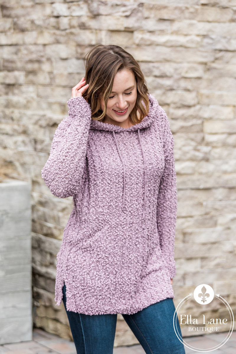 Popcorn Hooded Pullover - Lilac FINAL SALE