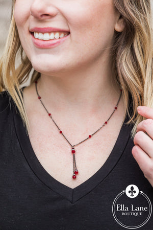 Red Glass Bead Antique Silver Necklace
