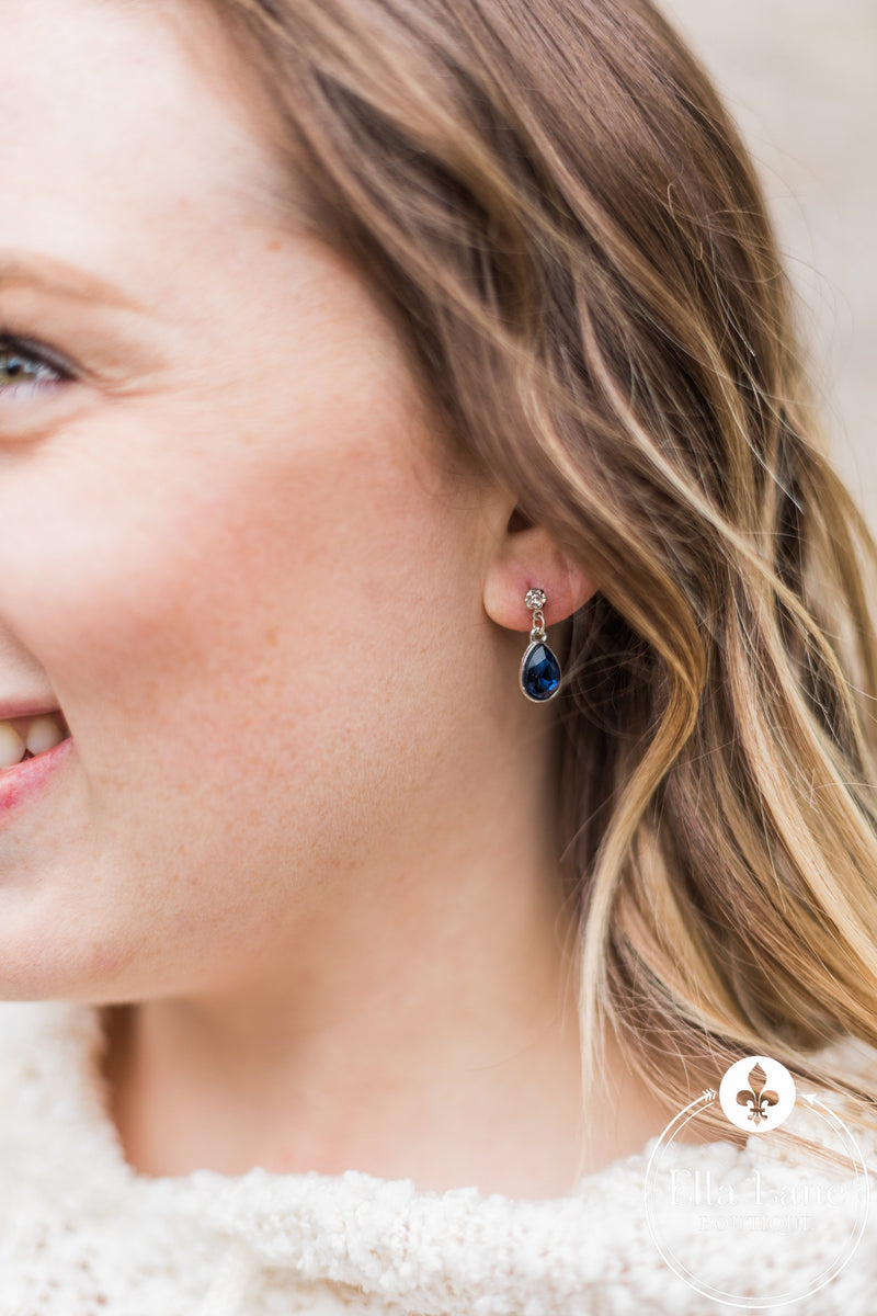 Fancy Blue Drop Earrings