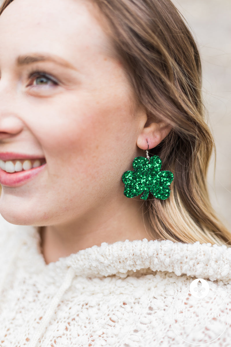 Glitter Shamrock Earrings