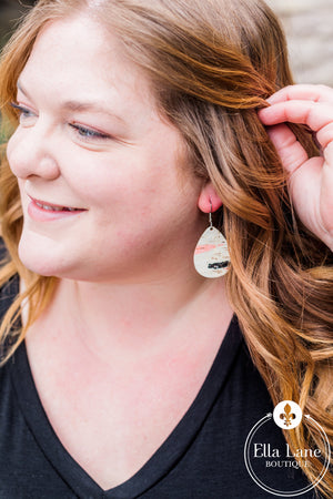 Green, Black, and Coral Corky Earrings