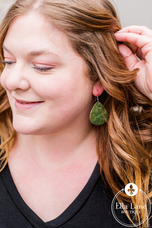 Olive Green Corky Earrings- FINAL SALE
