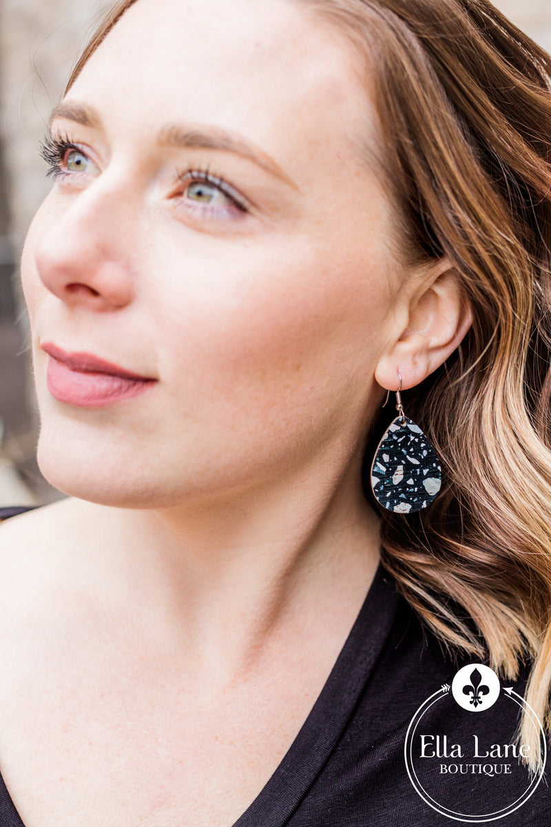 Black Mosaic Corky Earrings