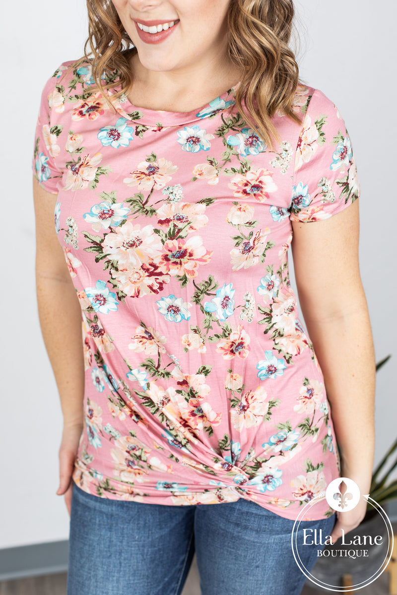Pink Floral Front Twist Top
