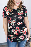 Floral Short Sleeve Top - Black/Coral