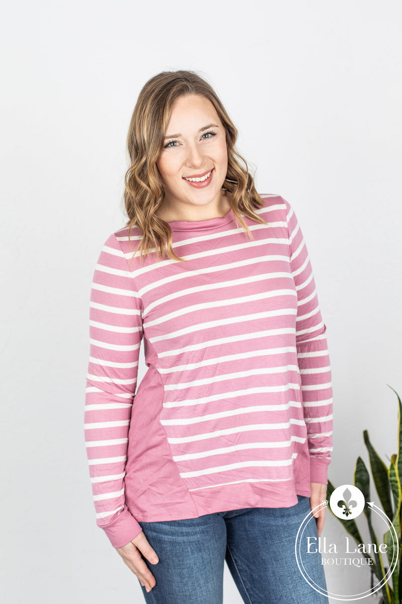 Stripe Jersey Long Sleeve Top - Mauve