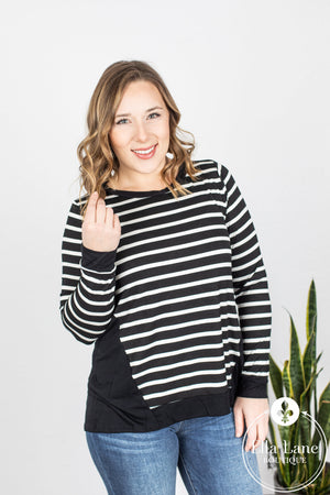 Stripe Jersey Long Sleeve Top - Black