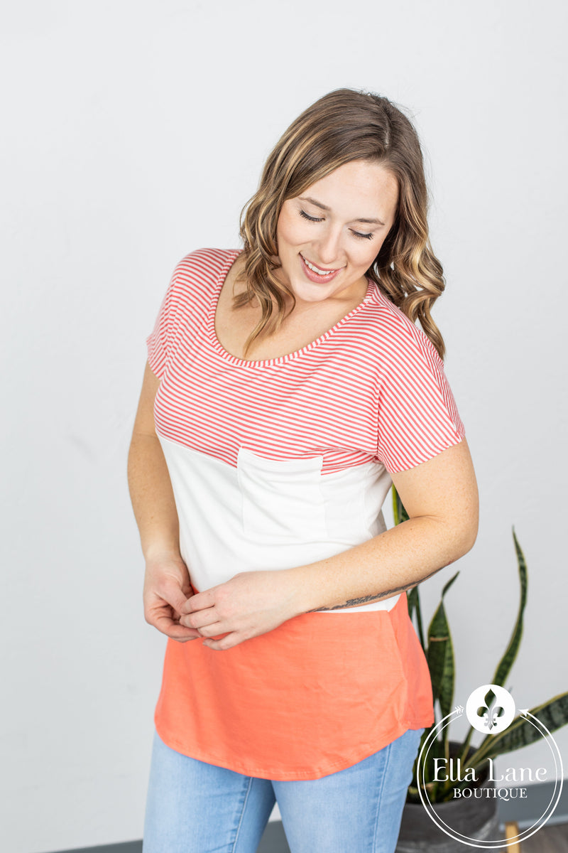 Pin Stripe Color Block Pocket Top - Coral