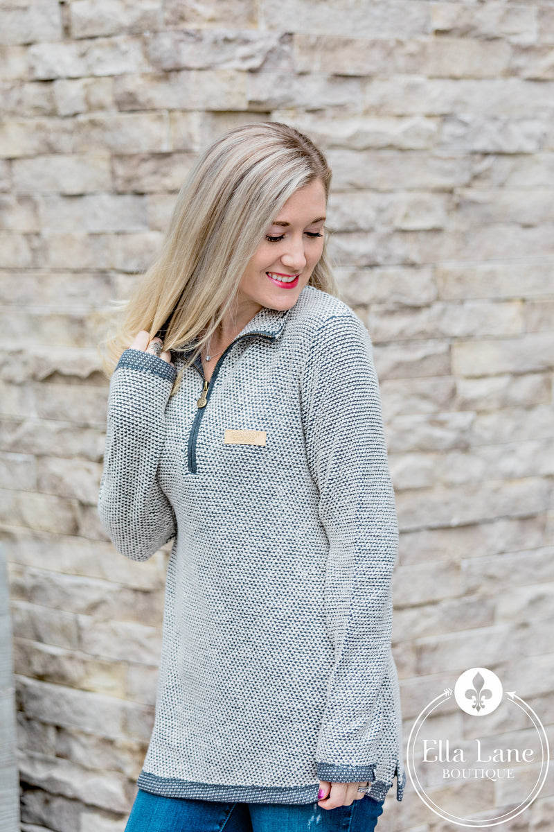 Boyfriend Pullover Sweater - Light Grey