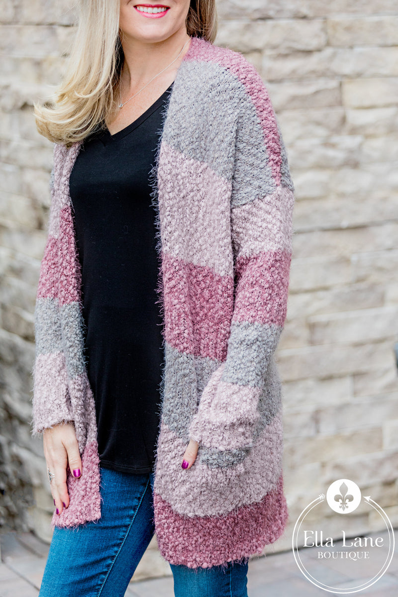 Mindy Mauve Open Front Sweater