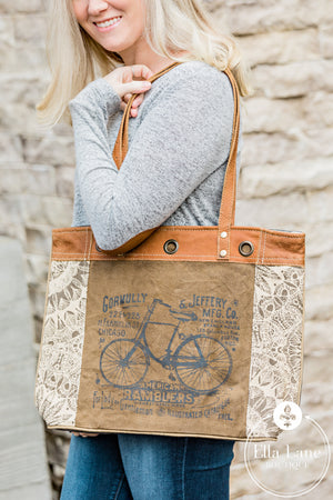 By-Cycle Print Canvas Tote Bag