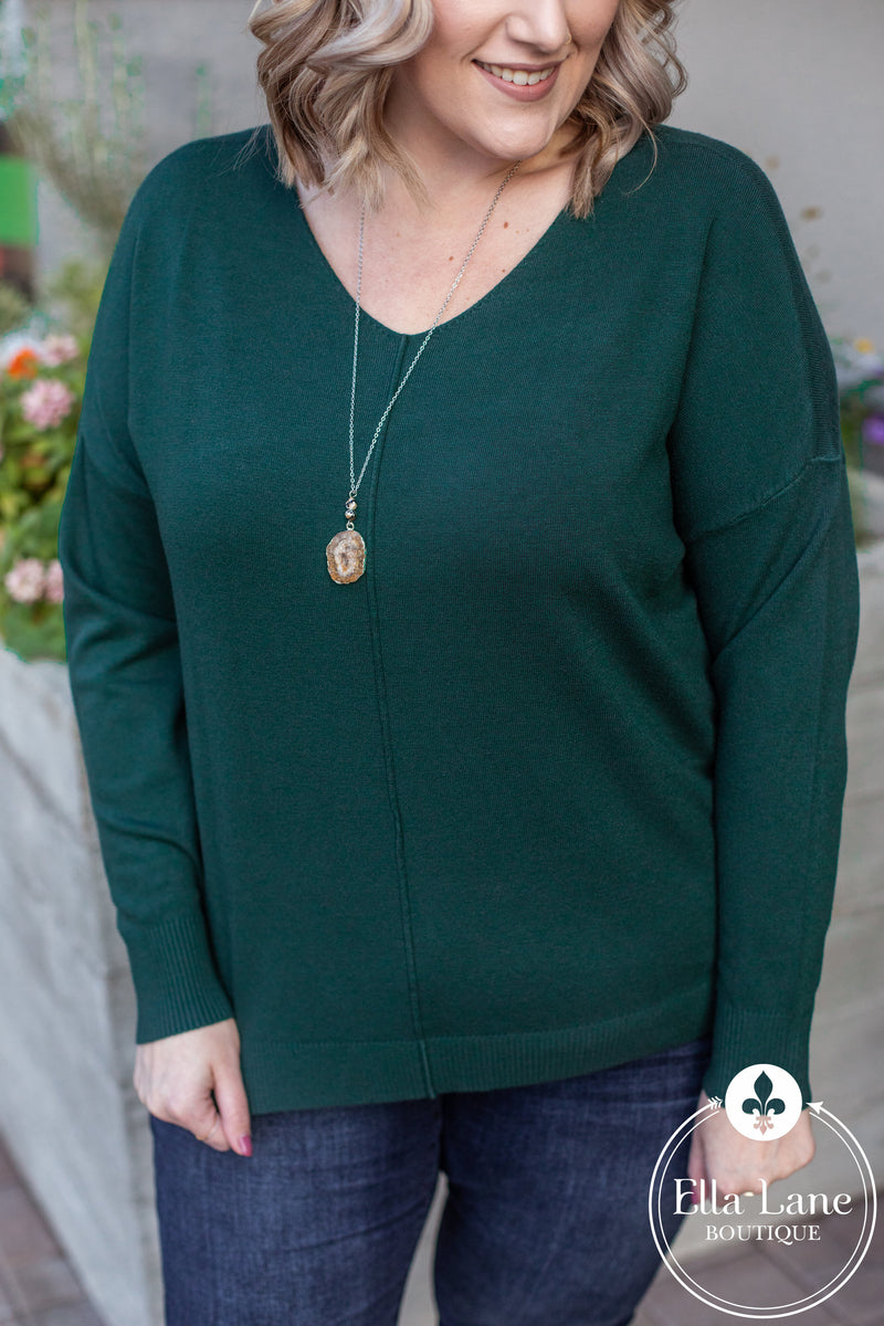 Madison V Neck Sweater - Hunter Green