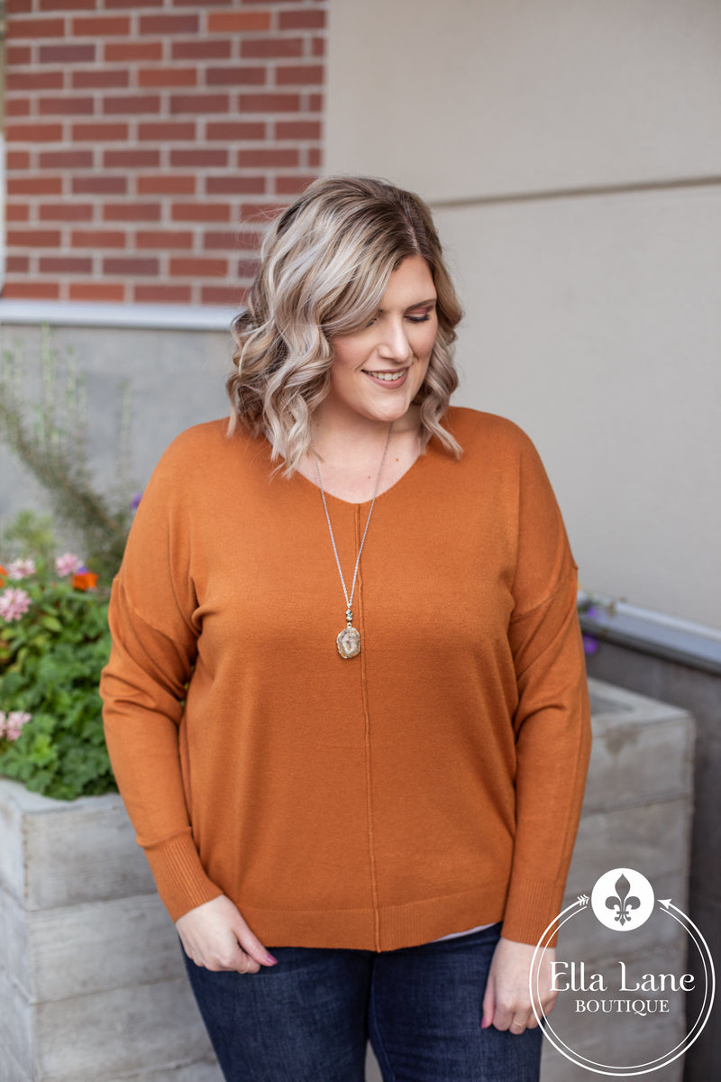 Madison V Neck Sweater - Dark Mustard