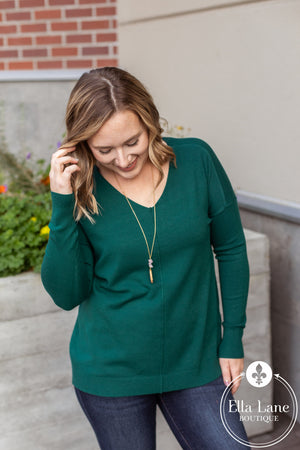Madison V Neck Sweater - Deep Green