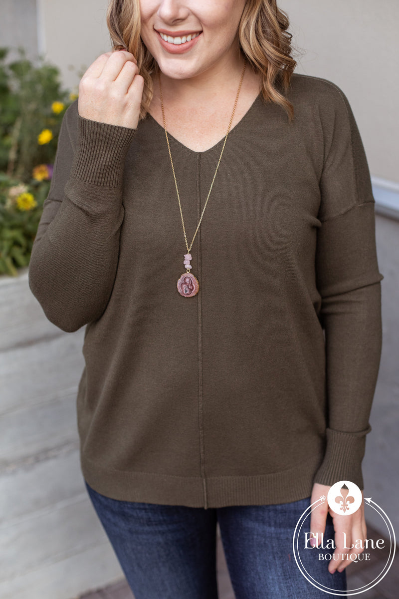 Madison V Neck Sweater - Dark Olive