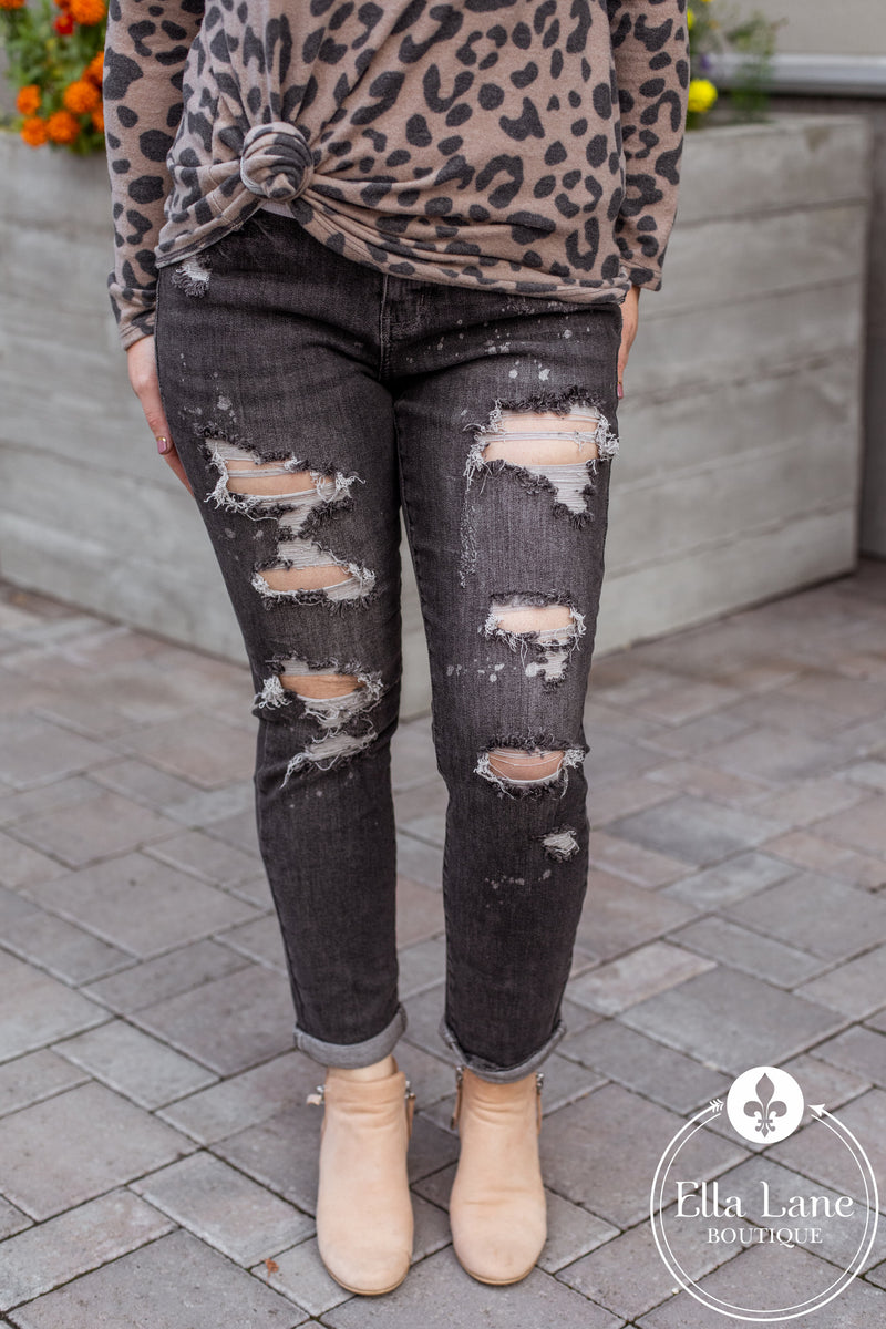 JB Bleach Splash Destroyed Boyfriend Jeans - FINAL SALE
