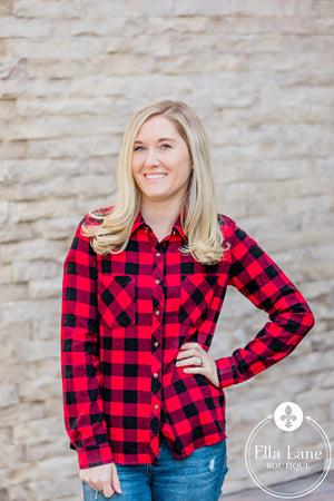 Red and Black Plaid Button Flannel