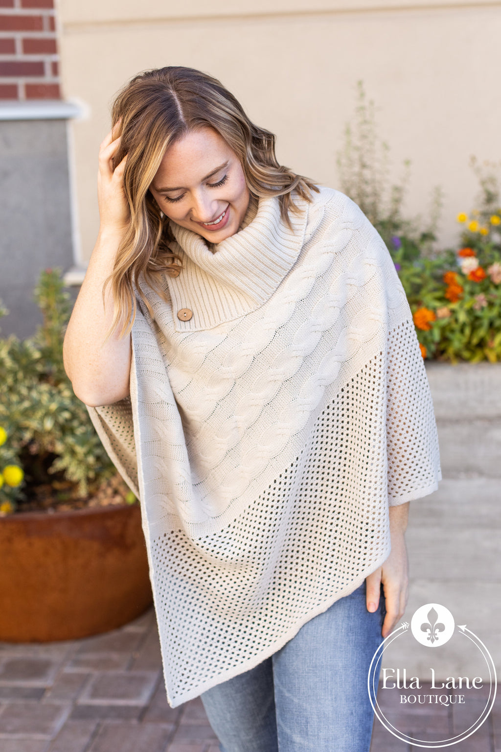 Button Accent Poncho - Bone